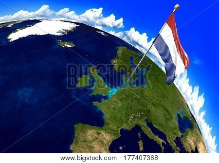 Netherlands national flag marking the country location on world map. 3D rendering, parts of this image furnished by NASA