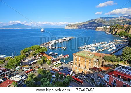 Elevated view of Sorrento and Bay of Naples, Italy