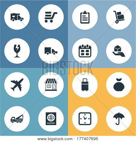 Vector Illustration Set Of Simple Carting Icons. Elements Holdall, Packaging, Caravan And Other Synonyms Sack, Trade And Evacuator.