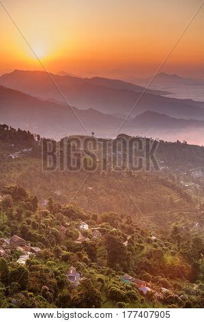 Morning At Sarangkot View Point Near Pokhara In Nepal