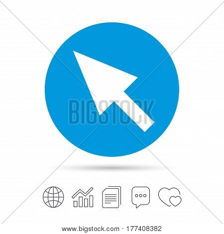 Mouse cursor sign icon. Pointer symbol. Copy files, chat speech bubble and chart web icons. Vector