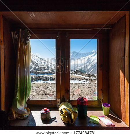 View from the window in high mountain lodge on the way to Renjo La pass in Everest region Nepal