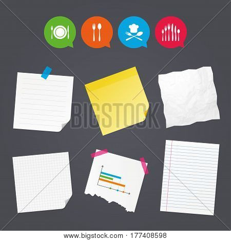 Business paper banners with notes. Plate dish with forks and knifes icons. Chief hat sign. Crosswise cutlery symbol. Dessert fork. Sticky colorful tape. Speech bubbles with icons. Vector