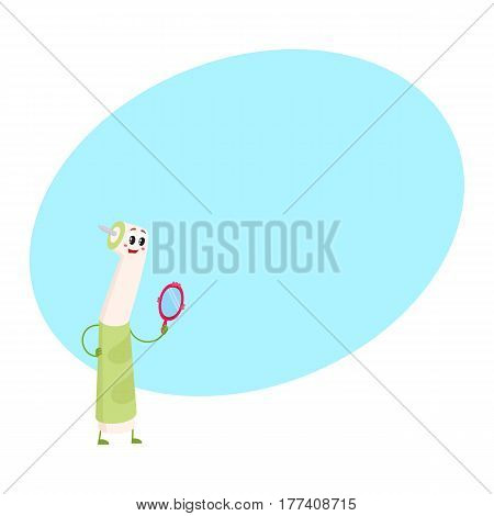 Cute and funny dental drill dentist instrument character holding mirror, cartoon vector illustration with place for text. Dental drill funny character, teeth hygiene, dental care concept
