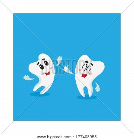 Two funny tooth characters looking, pointing up, dental health care concept, isolated cartoon vector illustration. Couple of happy tooth characters, mascots, dental care design element