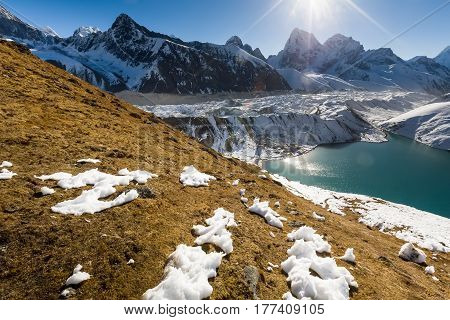 View to Gokyo lake and village in Everest region Nepal