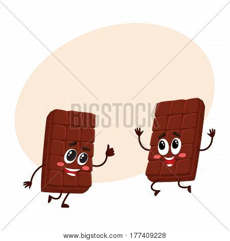 Two funny chocolate bar characters jumping from happiness and excitement, cartoon vector illustration with place for text. Couple of funny jumping chocolate characters, mascots
