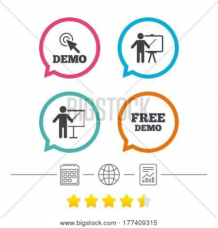 Demo with cursor icon. Presentation billboard sign. Man standing with pointer symbol. Calendar, internet globe and report linear icons. Star vote ranking. Vector