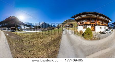 360 Degree Panoramic View Of Valley In Switzerland