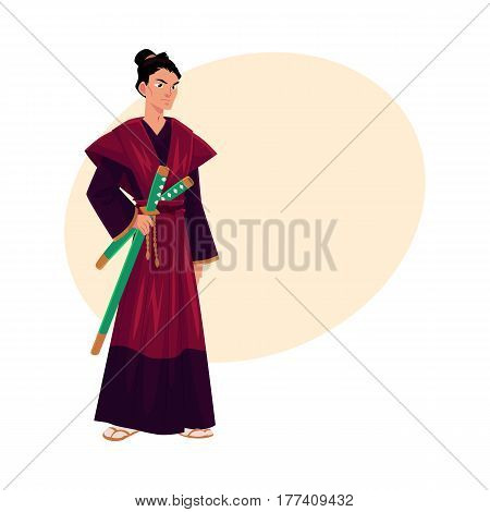 Japanese samurai, warrior in traditional kimono with katana swords, symbol of Japan, cartoon vector illustration with place for text. Full length portrait of Japanese samurai with swords