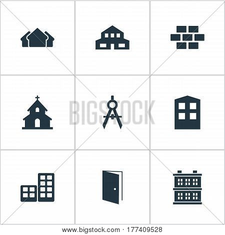 Vector Illustration Set Of Simple Structure Icons. Elements Popish, Flat, Gate And Other Synonyms Block, Flat And Stone.