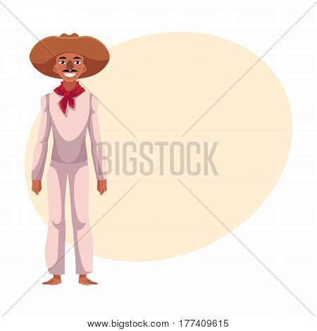Mexican man in traditional national costume, white clothes and red neck tie, cartoon vector illustration with place for text. Full length portrait of Mexican man in national clothes