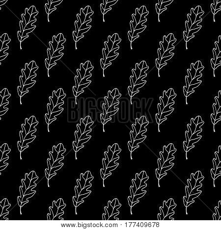 Outline oak leaf pattern with hand drawn leaves. Doodle vector black and white oak leaf pattern. Seamless monochrome oak leaf pattern for fabric, wallpapers, wrapping paper, cards and web backgrounds.