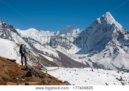 Trekker Approaching Amadablam Mount In Khumbu Valley On A Way To Everest Base Camp