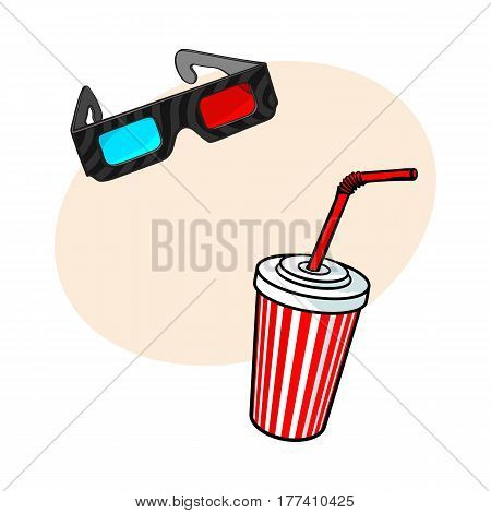Cinema objects - 3d, stereoscopic glasses and soda water in striped paper cup, sketch vector illustration with place for text. Typical movie attributes like soft drink and 3d glasses