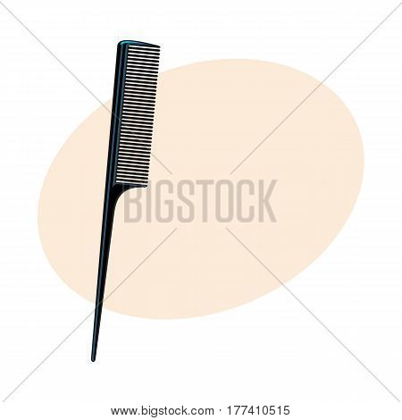 Traditional plastic black hairdresser comb, sketch style vector illustration with place for text. Hair comb, hairdresser tool, object, attribute