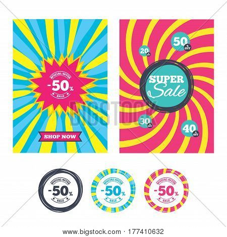 Sale banners and labels. Special offer tags. 50 percent discount sign icon. Sale symbol. Special offer label. Colored web buttons. Vector