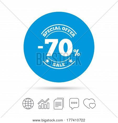 70 percent discount sign icon. Sale symbol. Special offer label. Copy files, chat speech bubble and chart web icons. Vector