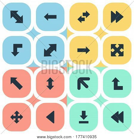Vector Illustration Set Of Simple Cursor Icons. Elements Advanced, Pointer Up, Left Direction And Other Synonyms Left, Four Directions Arrows And Downwards.