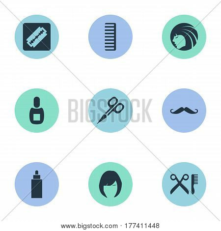 Vector Illustration Set Of Simple Beautician Icons. Elements Whiskers, Hair, Shaver And Other Synonyms Man, Bottle And Tube.