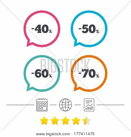 Sale discount icons. Special offer price signs. 40, 50, 60 and 70 percent off reduction symbols. Calendar, internet globe and report linear icons. Star vote ranking. Vector