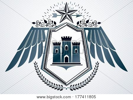 Heraldic Vintage Vector Design Element. Retro Style Label Created Using Medieval Stronghold And Pent