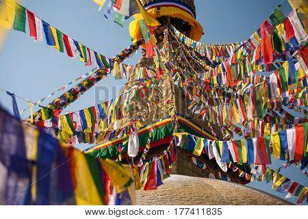 Beautiful view of the Boudnath stupa in Kathmandu Nepal