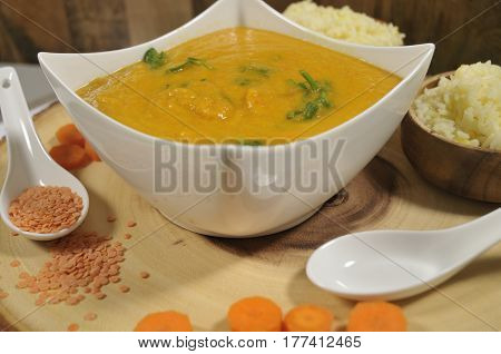 Healthy dish of sweet potato carrot & red lentil soup
