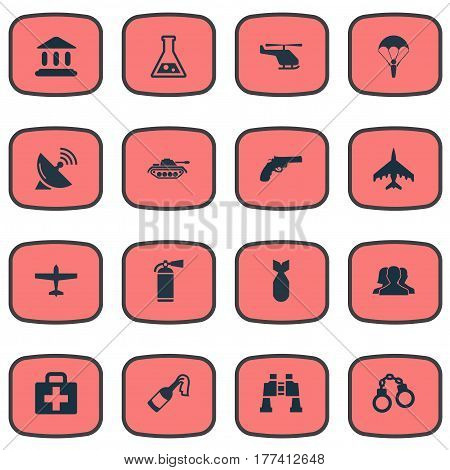 Vector Illustration Set Of Simple Military Icons. Elements Chemistry, Medical Kit, Air Bomber And Other Synonyms Plane, Antenna And Combat.