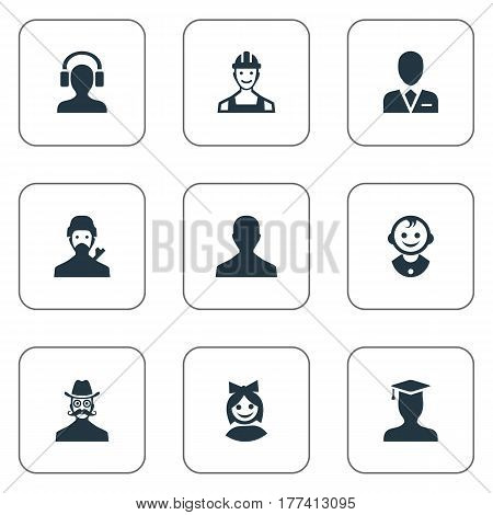 Vector Illustration Set Of Simple Member Icons. Elements Girl Face, Moustache Man, Male With Headphone And Other Synonyms User, Mustache And Male.