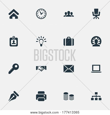 Vector Illustration Set Of Simple Business Icons. Elements Partnership, Group, Clock And Other Synonyms Machine, Message And Letter.