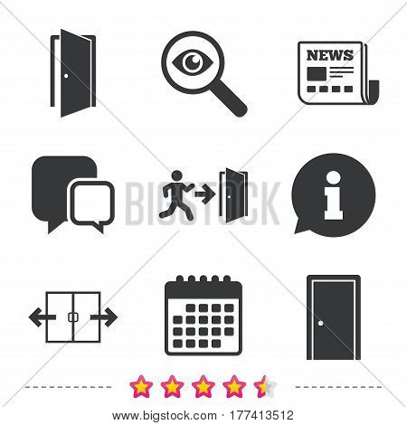 Automatic door icon. Emergency exit with human figure and arrow symbols. Fire exit signs. Newspaper, information and calendar icons. Investigate magnifier, chat symbol. Vector