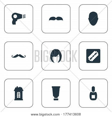 Vector Illustration Set Of Simple Barber Icons. Elements Human, Hair, Shaver And Other Synonyms Shaver, Construction And Whiskers.