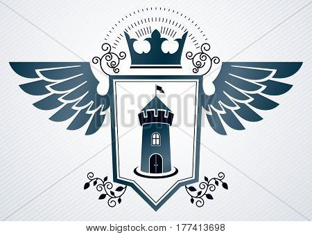 Heraldic Vintage Vector Design Element. Retro Style Label Created Using Medieval Fortress And Imperi