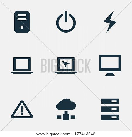 Vector Illustration Set Of Simple Laptop Icons. Elements Data Center, Switch Button, System Unit And Other Synonyms Button, Display And Monitor.
