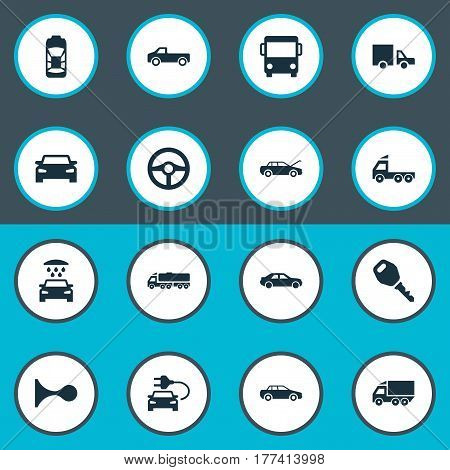 Vector Illustration Set Of Simple Transport Icons. Elements Camion, Traffic, Car Charging And Other Synonyms Parking, Automobile And Bus.