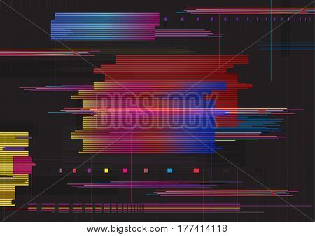 Glitch abstract background, Glitched horizontal stripes. Colorful digital signal error.