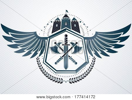 Vintage Vector Emblem Made In Heraldic Design And Decorated Armory And Medieval Stronghold