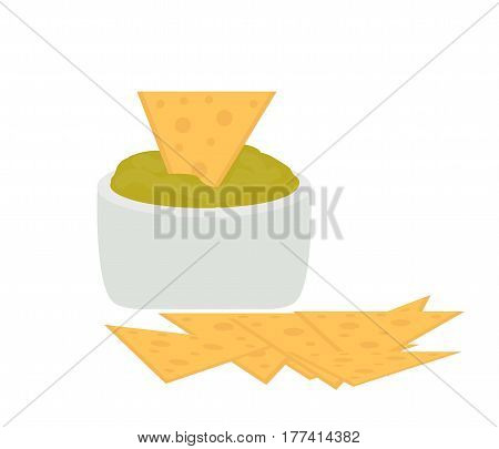 Nachos icon flat, cartoon style isolated on white background. Vector illustration, clip art. Traditional Mexican food