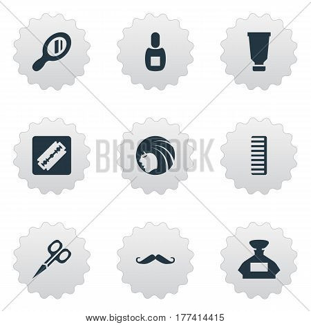 Vector Illustration Set Of Simple Hairdresser Icons. Elements Flask, Glamour Lady, Shaver And Other Synonyms Shaver, Razor And Flask.
