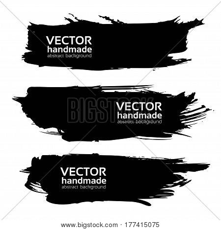 Abstract Black Long Textured Strokes Isolated On A White Background