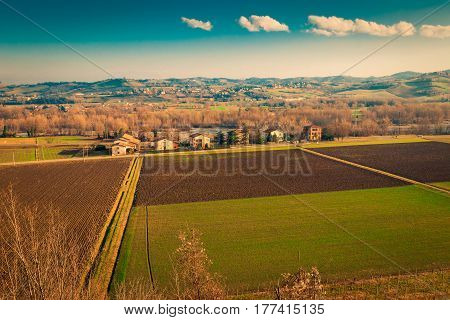 Fields And Villages In Emilia-romagna Region, Italy