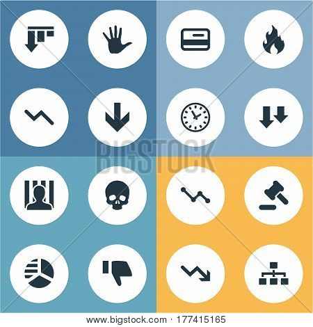 Vector Illustration Set Of Simple Impasse Icons. Elements Net, Head Bone, Fire And Other Synonyms Downward, Watch And Arm.