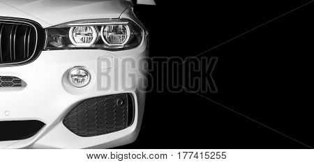 Sankt-Petersburg, Russia, March 05, 2017 BMW X5M 2017, Front view of modern luxury sport car white exterior