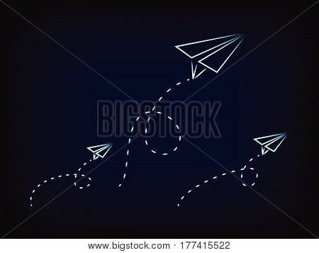 vector paper airplanes flying with dashed trails concept of imagination and creativity (mesh background)