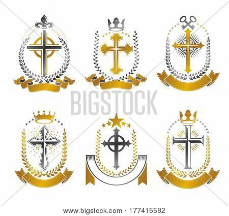 Christian Crosses Emblems Set. Heraldic Vector Design Elements Collection. Retro Style Label, Herald