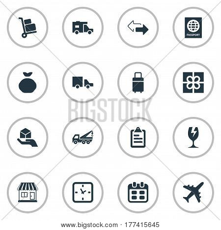 Vector Illustration Set Of Simple Handing Icons. Elements Luggage Bearer, Passport, Packaging And Other Synonyms Time, List And Plane.