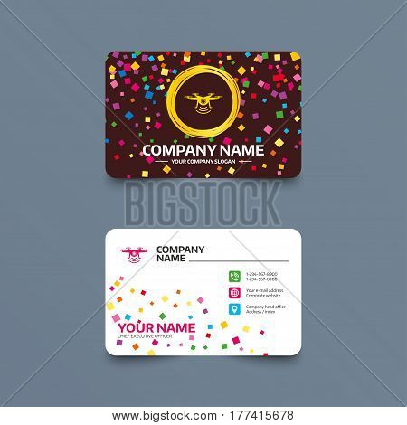 Business card template with confetti pieces. Drone icon. Quadrocopter with action camera symbol. Phone, web and location icons. Visiting card  Vector