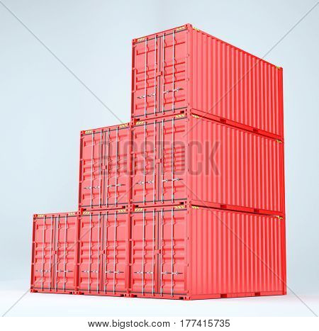 Pile of red freight containers, isolated on a white background. 3D rednering