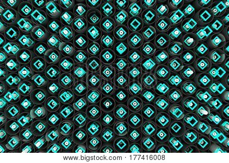 Pattern Of Black Tubes, Hexagons, Square Elements And Glass Surfaces
